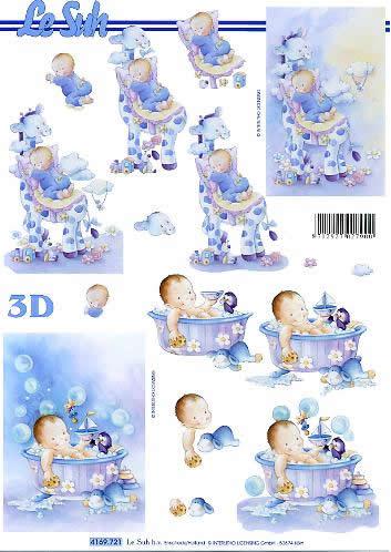 3D Bogen Babys baden - Format A4,  Menschen - Babys,  Le Suh,  3D Bogen,  Babys baden,  Spielzeug