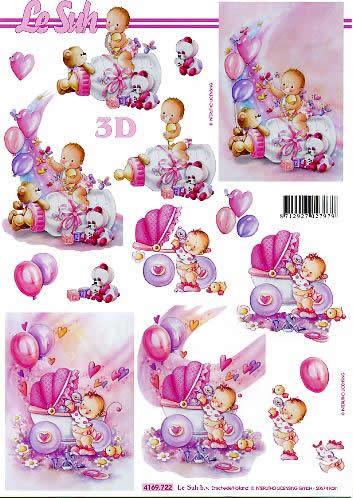 3D Bogen Babys - Mädchen - Format A4,  Ereignisse - Geburt,  Le Suh,  3D Bogen,  Babys - Mädchen,  Herzen,  Spielzeug, Kinderwagen