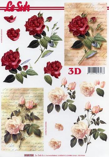 3d Sheet Rosen Auf Brief Format A4 By Wimmel Napkins