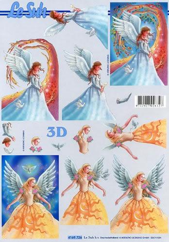 3D Bogen Engel - Format A4,  feen,  Le Suh,  3D Bogen,  Tauben,  Rosen,  Engel,  Feen