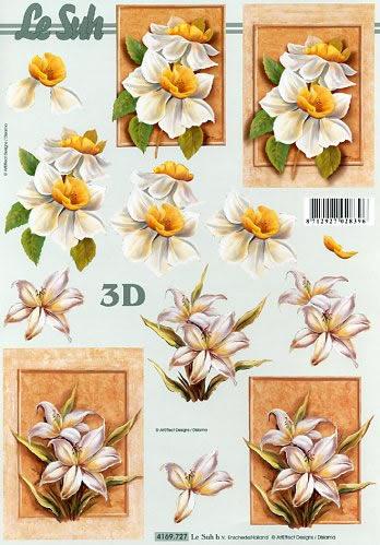 3D Bogen Format A4,  Blumen - Osterglocken,  Le Suh,  Frühjahr,  3D Bogen,  Narzissen