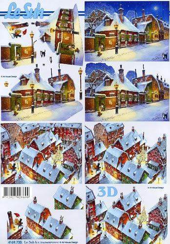 3D Bogen Stadt im Schnee 1 - Format A4,  Winter - Schnee,  Le Suh,  3D Bogen,  Stadt im Schnee 1,  Winterlandschaft