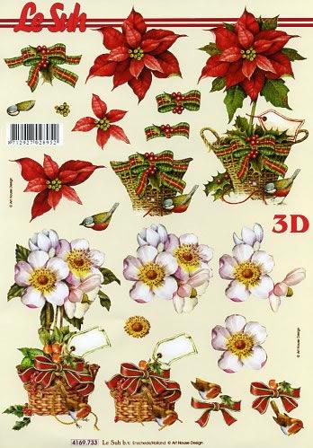 3D Bogen Christrosen - Format A4,  Blumen - Weihnachtsstern,  Le Suh,  Weihnachten,  3D Bogen,  Weihnachtsstern