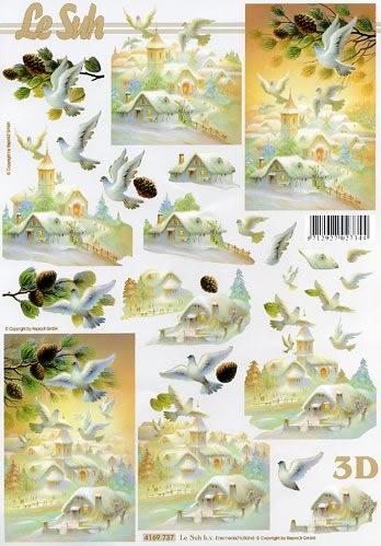 3D Bogen Winterlandschaft - Format A4,  Tiere - Vögel,  Le Suh,  3D Bogen,  Winterlandschaft