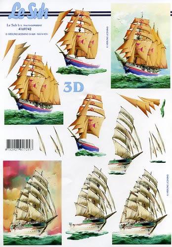 3D Bogen Format A4 Schiffe,  Le Suh,  Sommer,  3D Bogen,  Schiff
