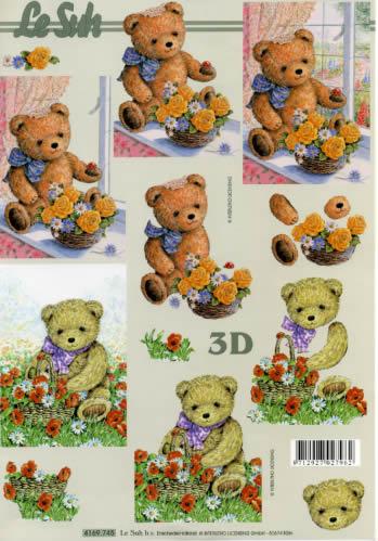 3D Bogen Bär mit Blumen Format A4