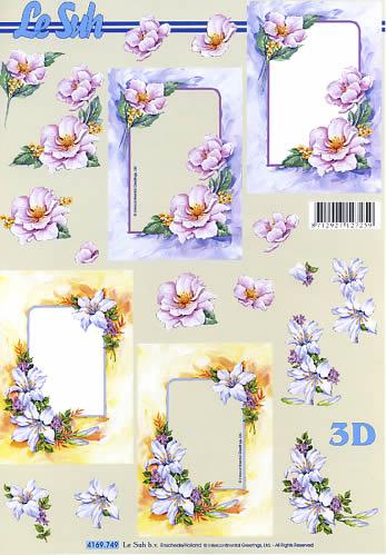 3D Bogen Format A4 Blumenrahmen,  Blumen - Rosen,  Le Suh,  Sommer,  3D Bogen,  Rosen