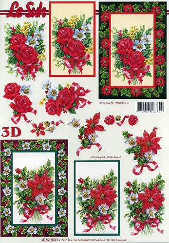 3D Bogen Weihnachten im Rahmen - Format A4,  Weihnachten - Weihnachtsstern,  Le Suh,  3D Bogen,  Weihnachten im Rahmen,  Weihnachtsstrauß