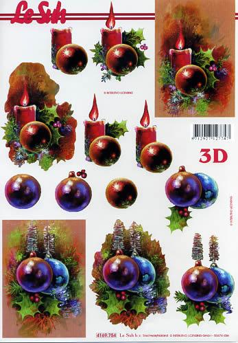3D Bogen Weihnachtskugeln+Kerzen Format A4,  Weihnachten - Baumschmuck,  Le Suh,  Weihnachten,  3D Bogen,  Kerzen,  Kugeln