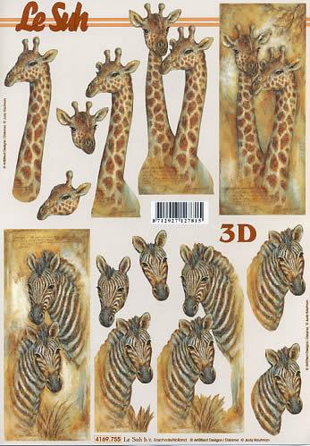 3D Bogen Giraffe und Zebra - Format A4,  Tiere - Zebras,  Le Suh,  3D Bogen,  Giraffen und Zebras