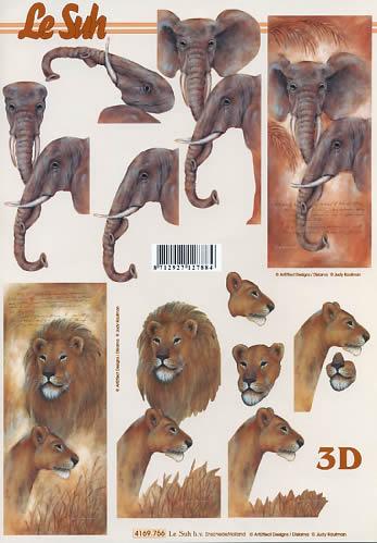 3D Bogen Format A4, Tiere - Löwen,  Regionen - Afrika,  Le Suh,  3D Bogen,  Löwen