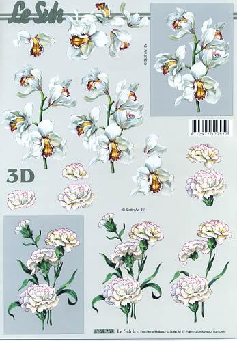 3D Bogen Nelken weiß Format A4,  Blumen -  Sonstige,  Le Suh,  3D Bogen,  Nelken,  Narzissen