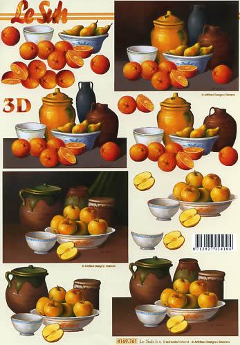 3D Bogen Format A4 Äpfel und Orangen, Früchte - Äpfel,  Früchte - Südfrüchte,  Le Suh,  3D Bogen,  Orangen,  Äpfel