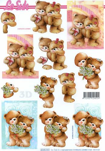 3D Bogen Bärchen verliebt - Format A4,  Blumen -  Sonstige,  Le Suh,  3D Bogen,  Bärchen verliebt,  Geschenke,  Herzen
