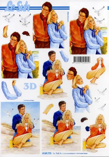 3D Bogen Format A4 - Pärchen,  Menschen - Personen,  Le Suh,  3D Bogen,  Personen