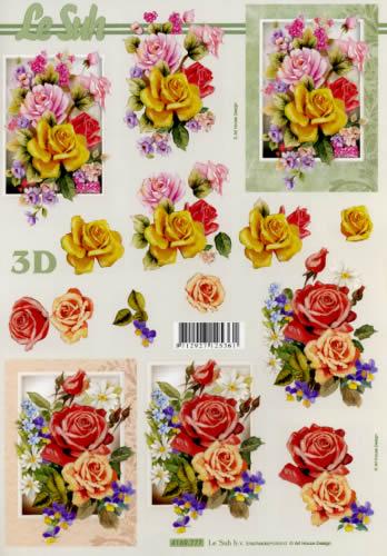 3D Bogen Rosen - Format A4,  Blumen - Rosen,  Le Suh,  3D Bogen,  Rosen