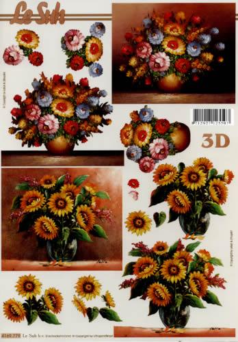 3D Bogen Format A4,  Blumen - Sonnenblumen,  Le Suh,  Sommer,  3D Bogen,  Sonnenblume
