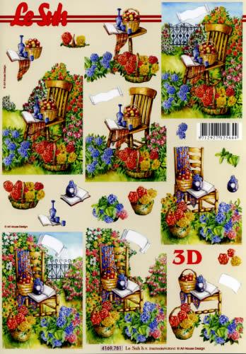 3D Bogen Format A4 Stuhl im Garten,  Blumen -  Sonstige,  Le Suh,  Sommer,  3D Bogen,  Blumen,  Stuhl