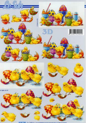 3D Bogen Format A4 Osterküken + Eier