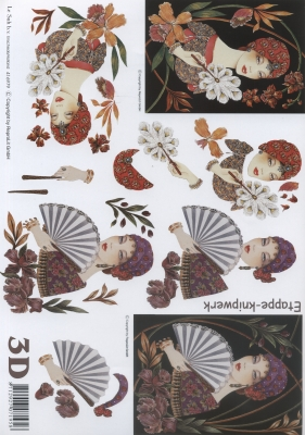 3D Bogen Format A4 - Frau mit Fächer