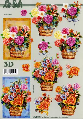 3D Bogen Blumen im Korb - Format A4,  Blumen -  Sonstige,  Le Suh,  Sommer,  3D Bogen,  Blumen,  Korb