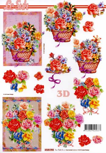 3D Bogen  - Format A4,  Blumen -  Sonstige,  Le Suh,  Sommer,  3D Bogen,  Blumenstrauß,  Korb