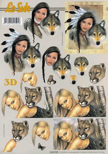 3D Bogen Frau + Wolf + Puma - Format A4,  Sonstiges -  Sonstiges,  Le Suh,  3D Bogen,  Frau + Wolf + Puma
