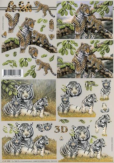 3D Bogen Leopard + Tiger - Format A4,  Tiere - Tiger,  Le Suh,  3D Bogen,  Leopard + Tiger mit jungtieren