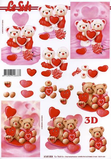 3D Bogen Valentinskarte 1 - Format A4,  Ereignisse - Hochzeit,  Le Suh,  3D Bogen,  Valentine 1,  Herzen,  Luftballon