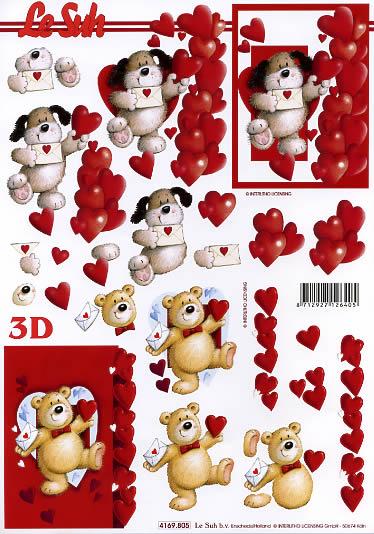 3D Bogen Format A4,  Ereignisse - Liebe,  Le Suh,  3D Bogen,  Herz,  Teddybär