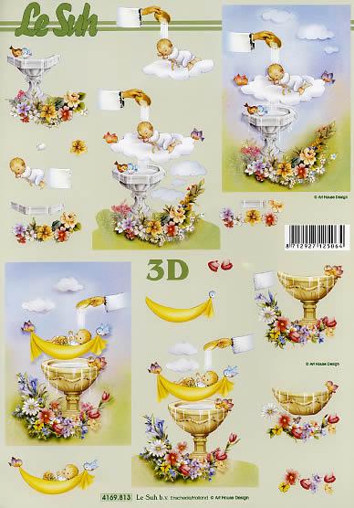 3D Bogen Taufe - Format A4,  Menschen - Babys,  Le Suh,  3D Bogen,  Taufe