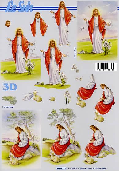 3D Bogen Jesus in der Wüste - Format A4,  Ereignisse - Kommunion,  Le Suh,  Weihnachten,  3D Bogen,  Jesus,  Kommunion