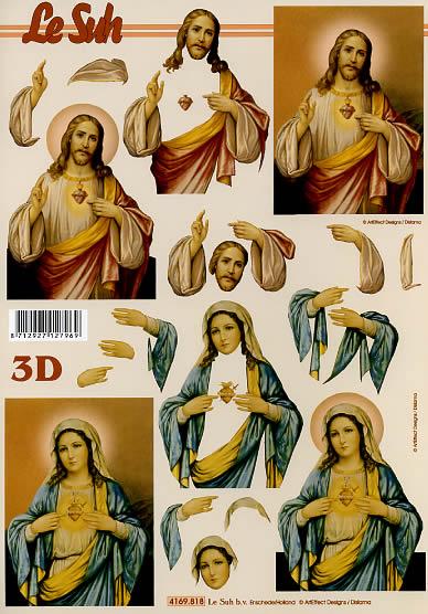 3D Bogen Jesus und Maria - Format A4,  Ereignisse - Kommunion,  Le Suh,  Weihnachten,  3D Bogen,  Kommunion,  Jesus,  Maria