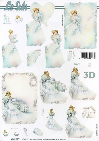 3D Bogen Brautpaar - Format A4,  Ereignisse - Hochzeit,  Le Suh,  3D Bogen,  Brautpaar,  Vermählung,  Brautauto