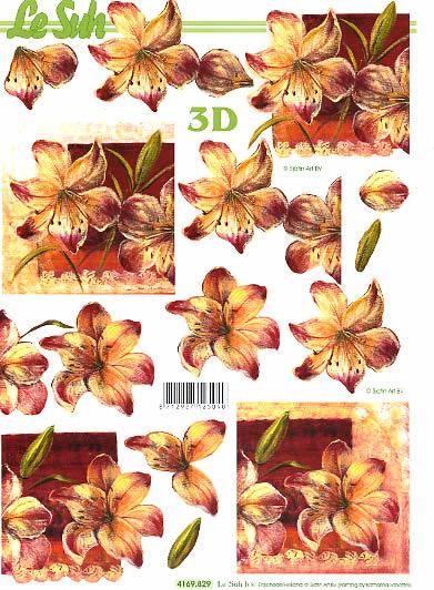 3D Bogen Lilie - Format A4,  Blumen -  Sonstige,  Le Suh,  Sommer,  3D Bogen,  Blumen