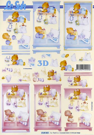 3D Bogen Bärchen im Schrank - Format A4,  Ereignisse - Geburt,  Le Suh,  3D Bogen,  Geburt,  Baby
