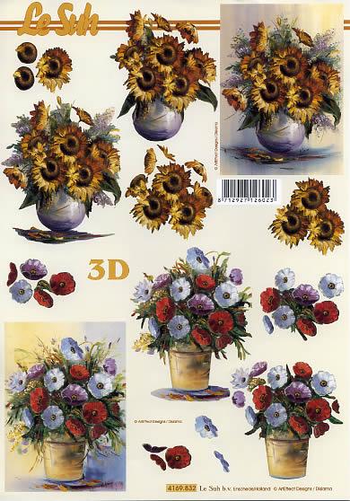 3D Bogen Blumen im Topf - Format A4,  Blumen - Mohn,  Le Suh,  3D Bogen,  Blumen im Topf