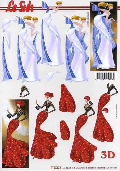 3D Bogen Dame - blau+rot - Format A4,  Sonstiges -  Sonstiges,  Le Suh,  3D Bogen,  Dame blau+rot,  Party