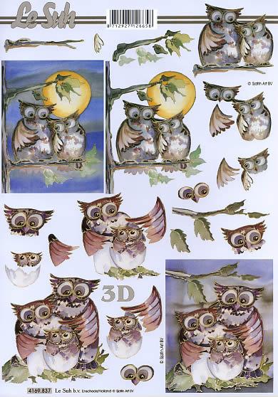 3D Bogen Eulen - Format A4,  Tiere -  Sonstige,  Le Suh,  3D Bogen,  Eulen