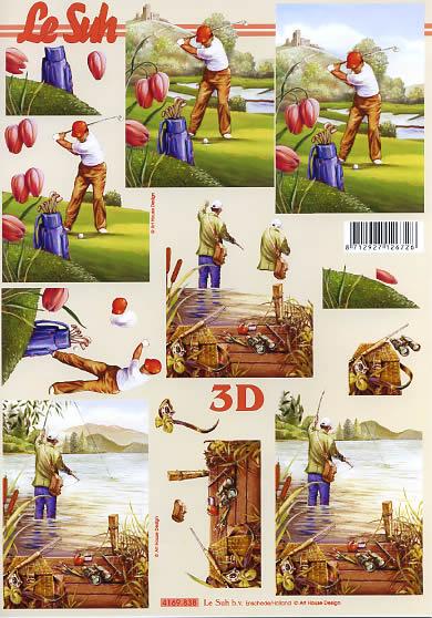 3D Bogen Golfspieler + Fischer - Format A4,  Sport - Angeln,  Le Suh,  3D Bogen,  Fischer,  Blumen