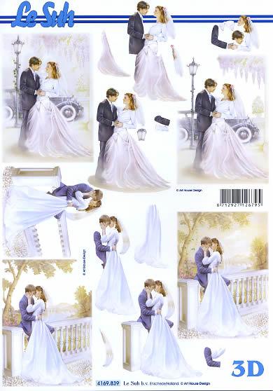 3D Bogen Brautpaar - Format A4,  Fahrzeuge - Autos,  Le Suh,  3D Bogen,  Brautpaar,  Ehepaar
