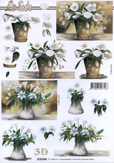3D Bogen Format A4 - Blumentopf,  Blumen - Rosen,  Le Suh,  3D Bogen,  Lilien,  Rosen
