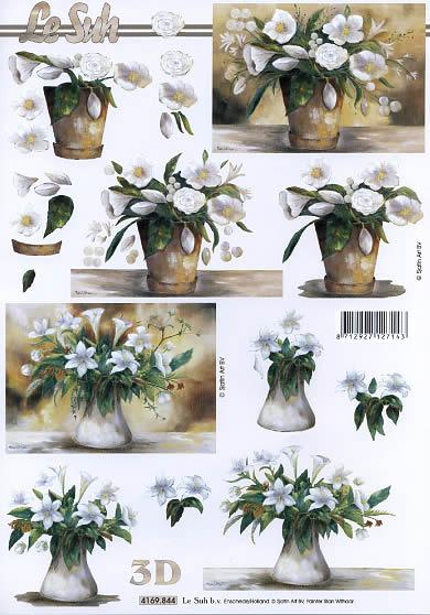 3D Bogen weiße Blumen - Format A4,  Blumen - Rosen,  Le Suh,  3D Bogen,  Lilien,  Rosen