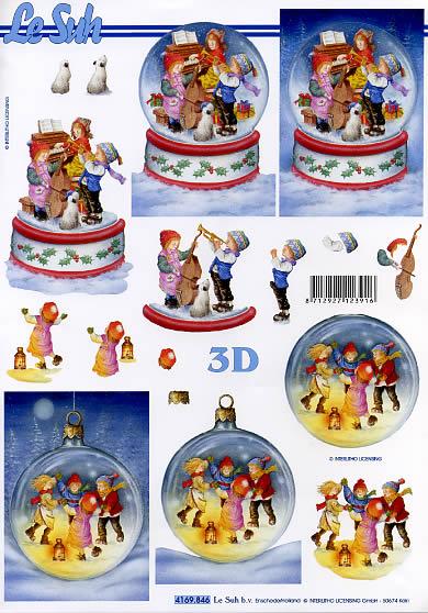 3D Bogen Musikanten in Kugel - Format A4, Weihnachten - Baumschmuck,  Menschen - Kinder,  Le Suh,  Weihnachten,  3D Bogen,  Kinder,  Baumschmuck