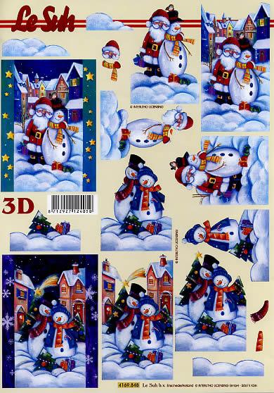 3D Bogen Weihnachtsmann - Format A4,  Weihnachten - Weihnachtsmann,  Le Suh,  3D Bogen,  Winterlandschaft,  Winterdorf
