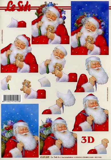3D Bogen Weihnachtsmann - Format A4,  Weihnachten - Geschenke,  Le Suh,  3D Bogen,  Weihnachtsmann mit Geschenkesack und Spielzeug