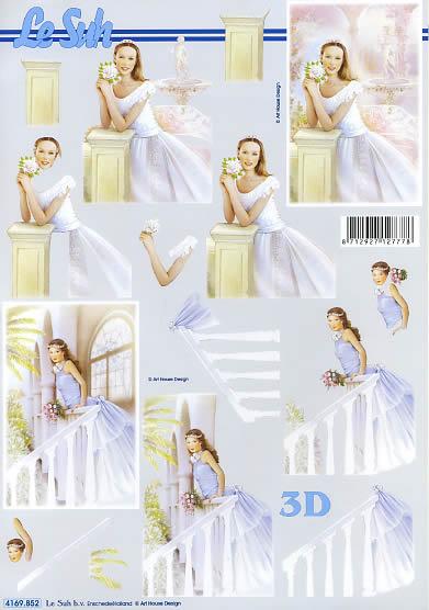 3D Bogen Junge Frau - Format A4,  Ereignisse - Hochzeit,  Le Suh,  3D Bogen,  Junge Frau,  Braut