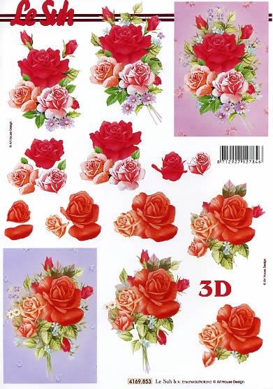 3D Bogen Rosen - Format A4,  Blumen - Rosen,  Le Suh,  Sommer,  3D Bogen,  Rosen