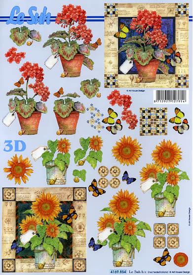3D Bogen Geranien - Format A4,  Blumen - Sonnenblumen,  Le Suh,  3D Bogen,  Blumen,  Sonnenblume