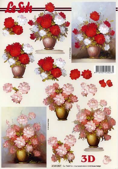3D Bogen Blumen in der Vase Format A4,  Blumen - Rosen,  Le Suh,  Sommer,  3D Bogen,  Rosen